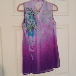 Sleeveless orchid print top